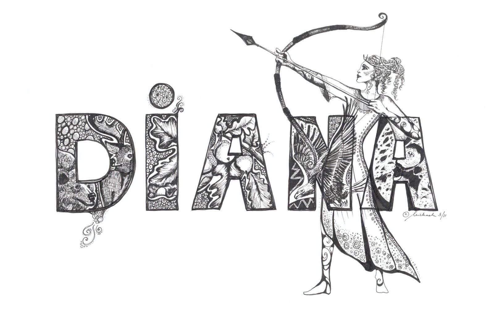 Image result for simple doodle art name diana