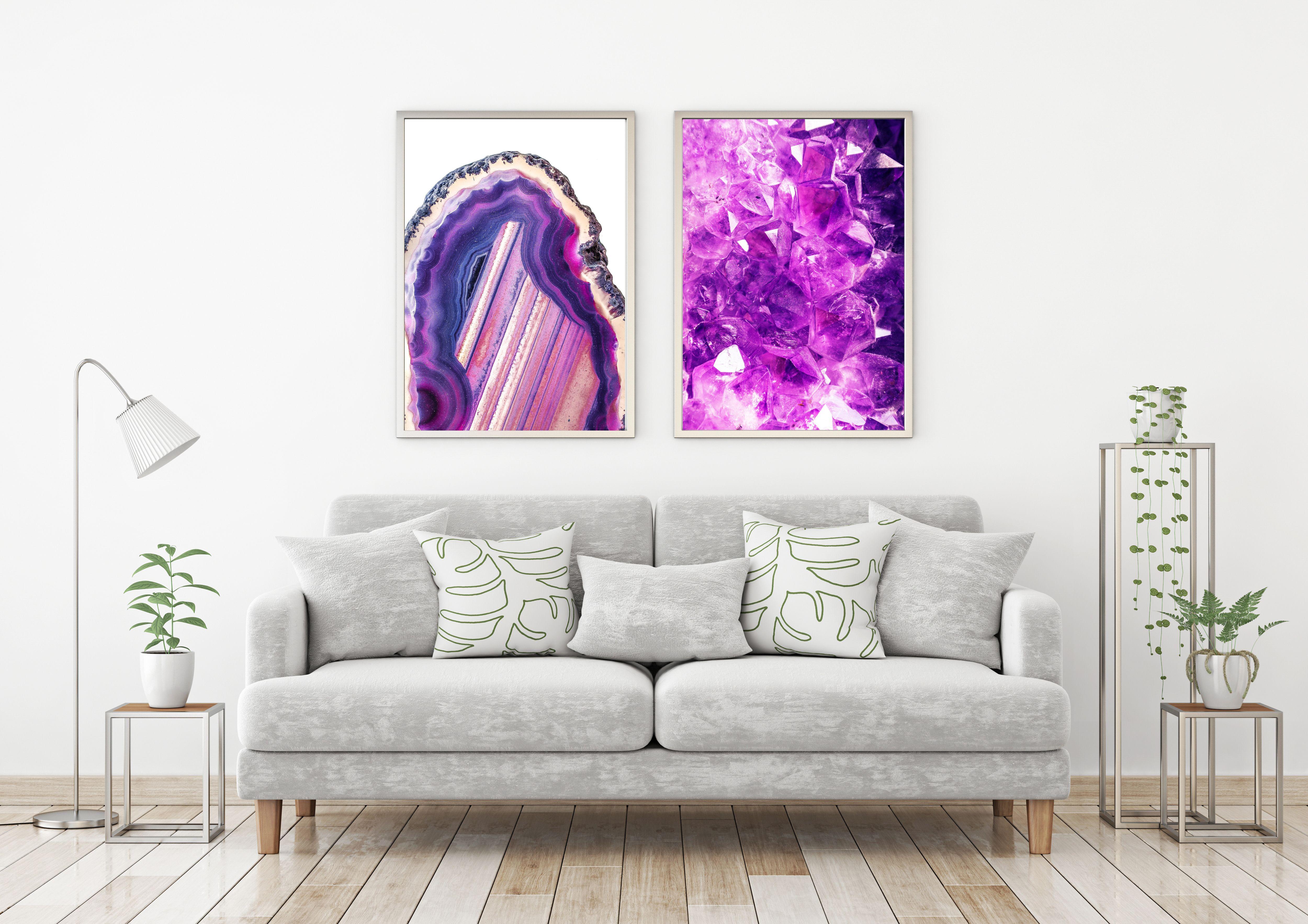 Purple Agate - Printable Art, Crystal Print, Crystal Wall Art,