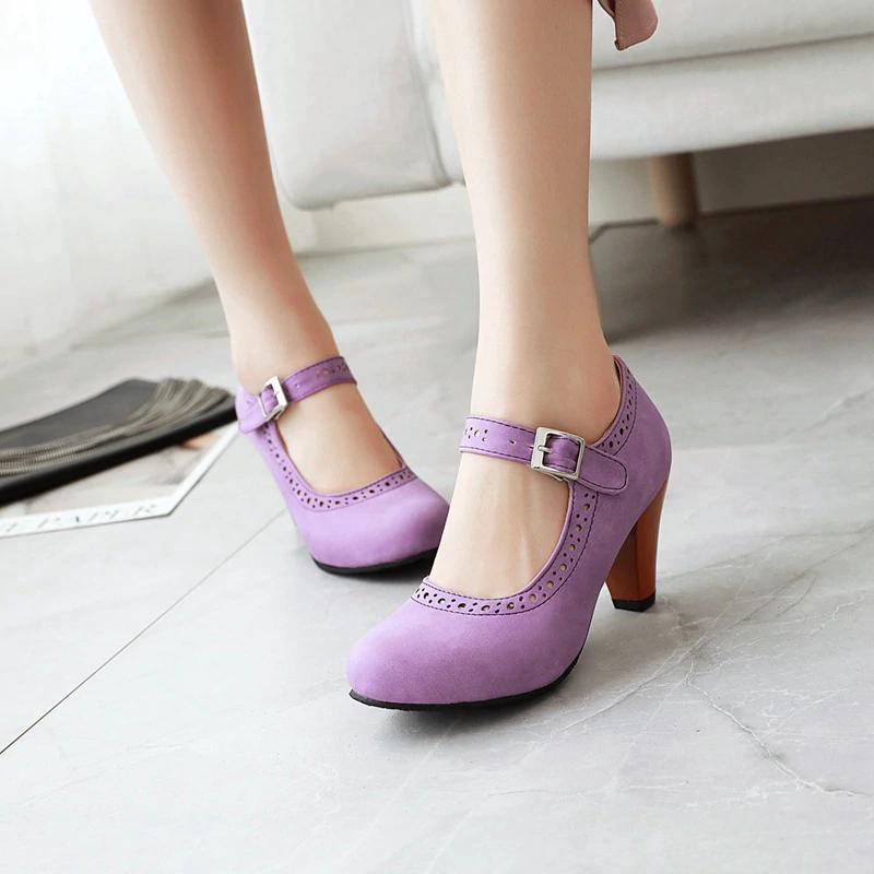 25.74US $ 35% OFF|MNIXUAN Fashion purple wedding shoes sexy high heeled shoes women pumps 2020 new round toe buckle Mary Jane Shoes large size 47|Women's Pumps|   – AliExpress
