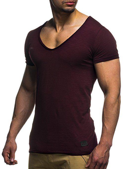 quality design f375b 967eb LEIF NELSON Herren oversize T-Shirt tiefer V-Ausschnitt ...