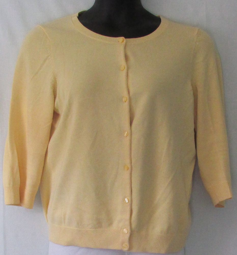 Talbots Yellow Button Cardigan Sweater Size L - Misses | Talbots