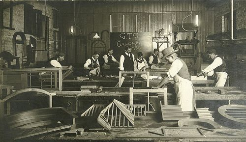 Tradie Carpentry Class 1900s. Vintage Artisan Furniture Making. #tafe  #education #geelong