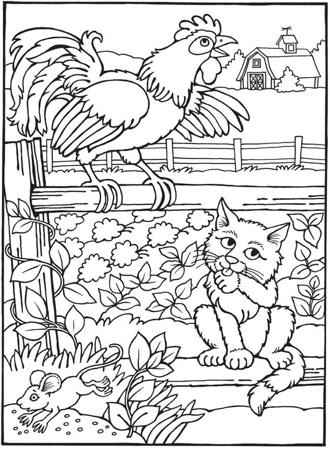Best-Loved AESOPu0027S FABLES The Young Mouse, The Rooster and The Cat - best of coloring pages black cat