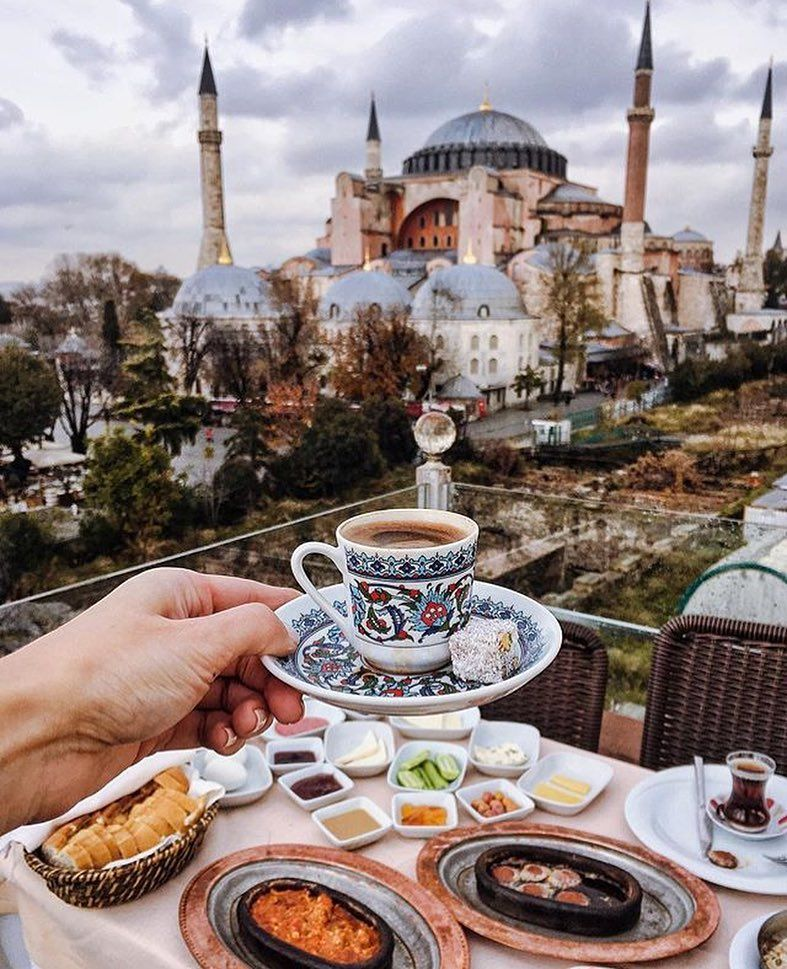 A Perfect Way To Spend A Rainy Morning In Istanbul Turkish Coffee Breakfast With Amazing View Istanbul Turkey Photography Blue Mosque Istanbul Turkey Photos