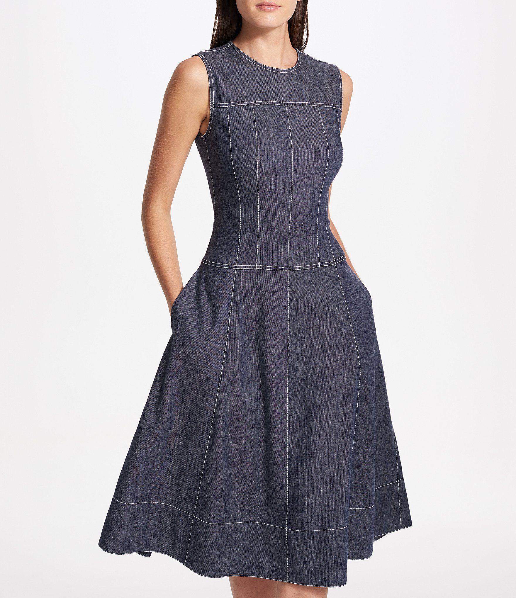 Donna Karan New York Stretch Denim Seamed Panel Fit-and Flare Midi Dress
