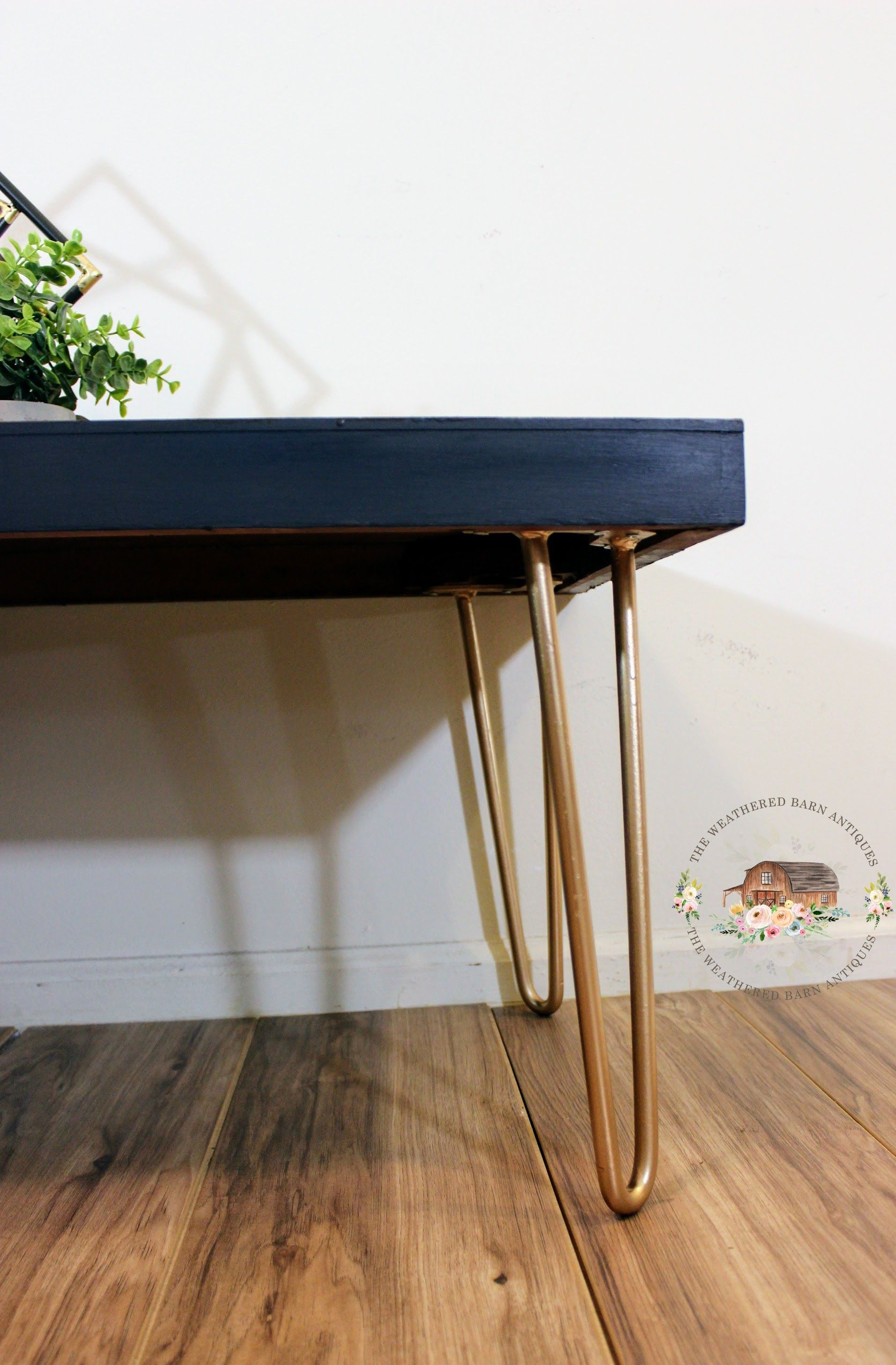 Up cycled this metal warehouse table into a beautiful coffee table