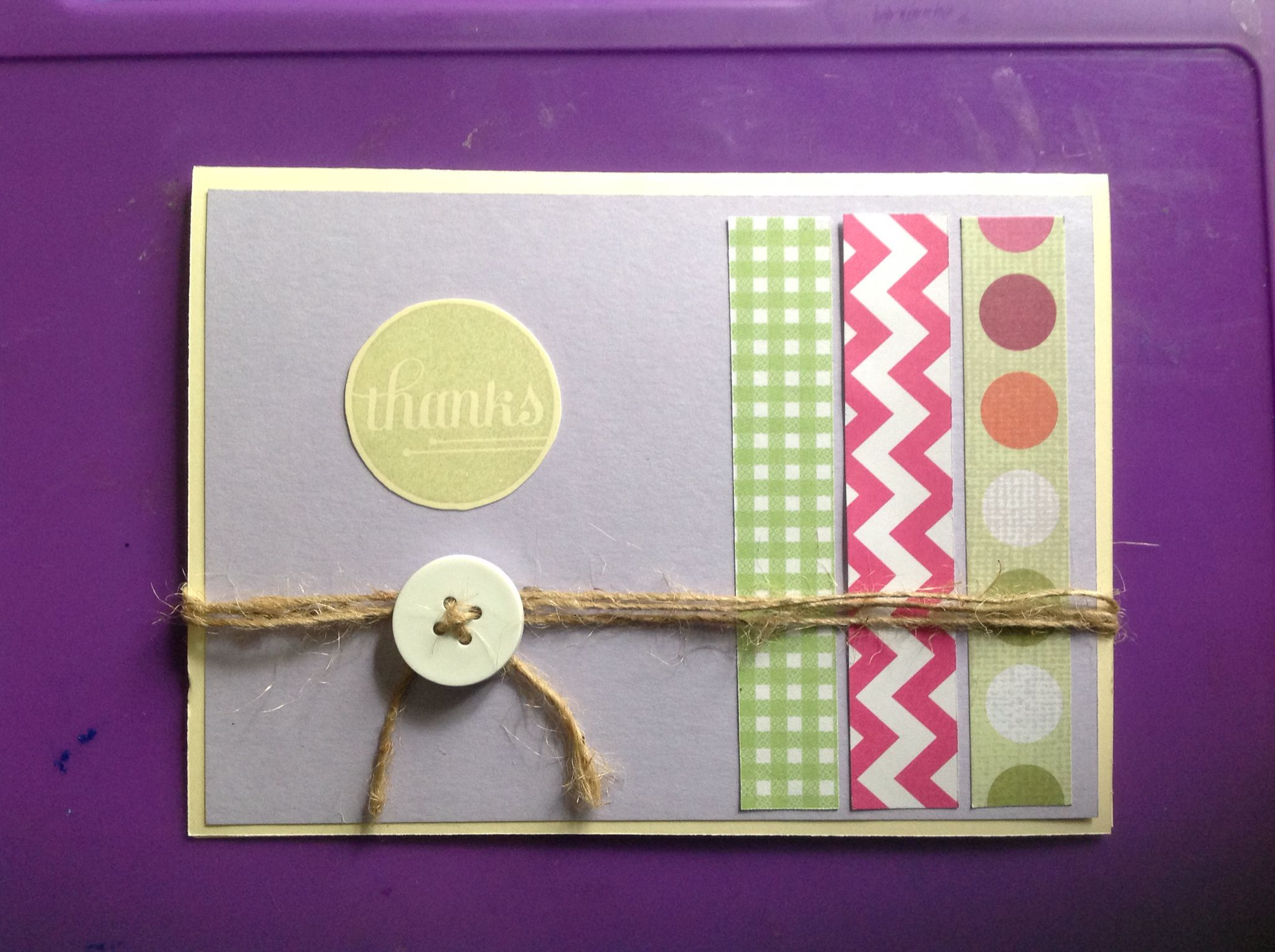 Thank you card made from the A Happy Hooray stamp set from Stampin' Up.