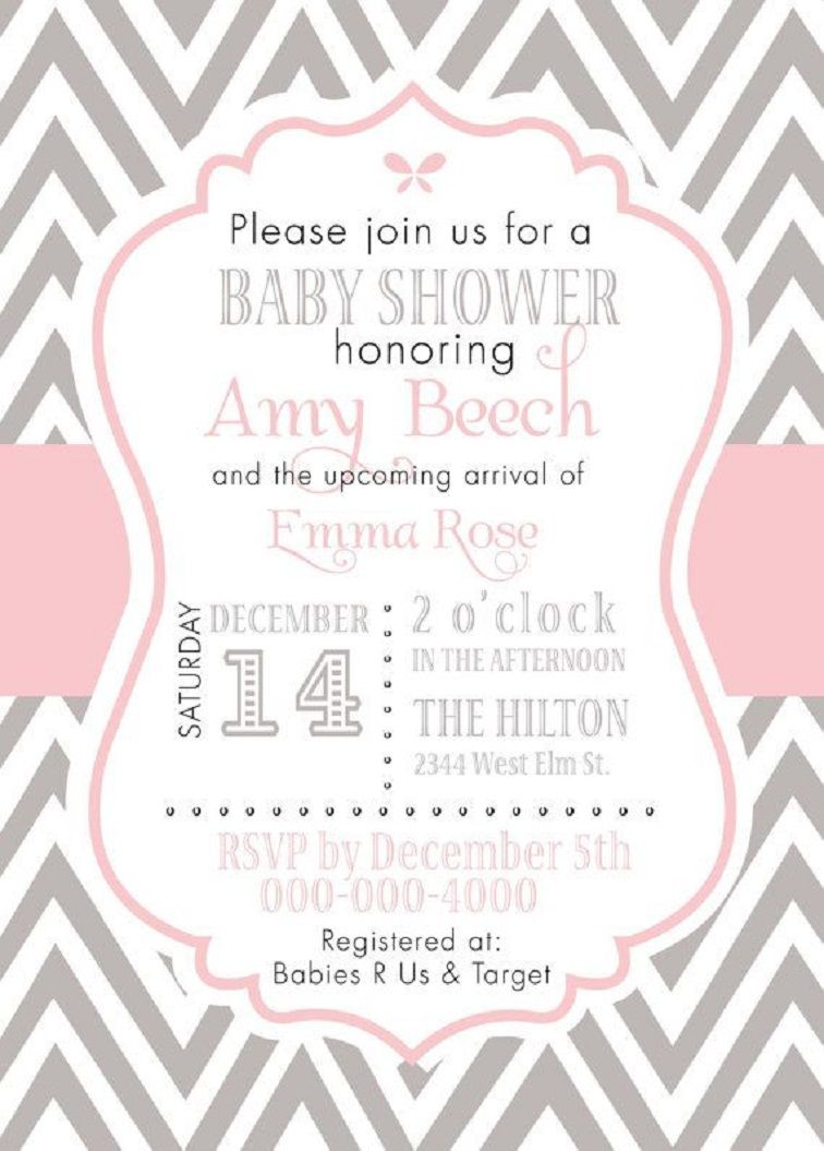 Pink And Grey Chevron Baby Shower Invitations Party Invitation