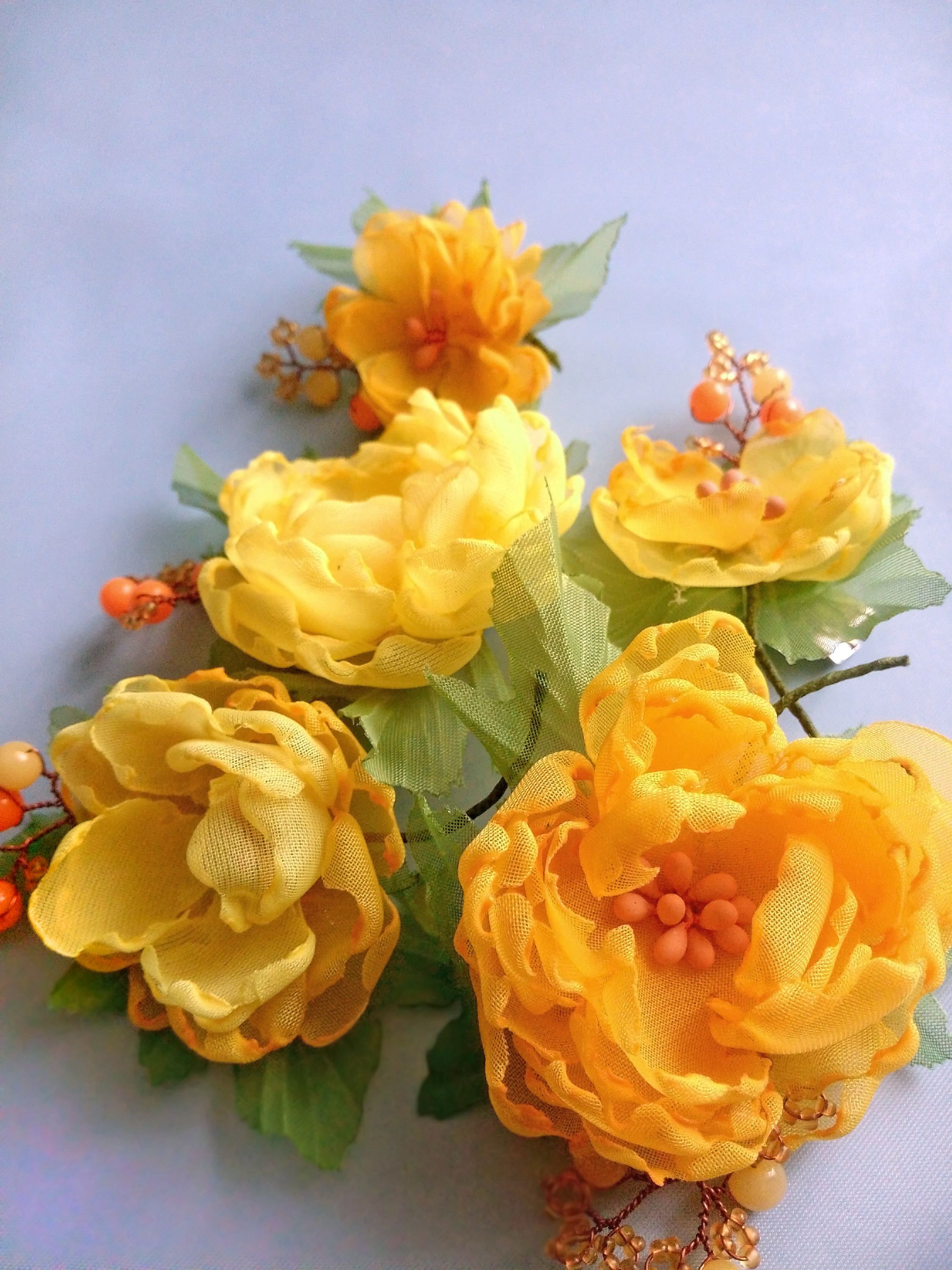 Flower Hair Clips 5 Hair Clips Yellow Chiffon Flowers My Etsy