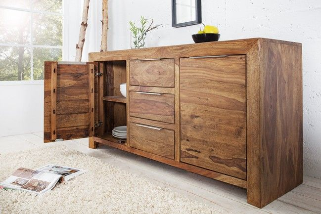Massives design sideboard pure sheesham holz stone finish for Sideboard esszimmer design
