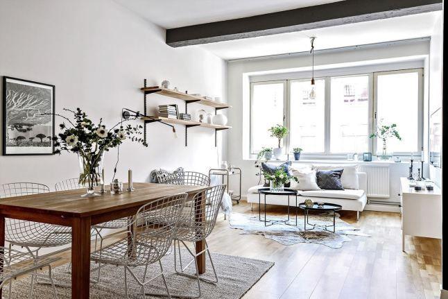 Simple but friendly loft with Ikea 'Söderhamn' sofa