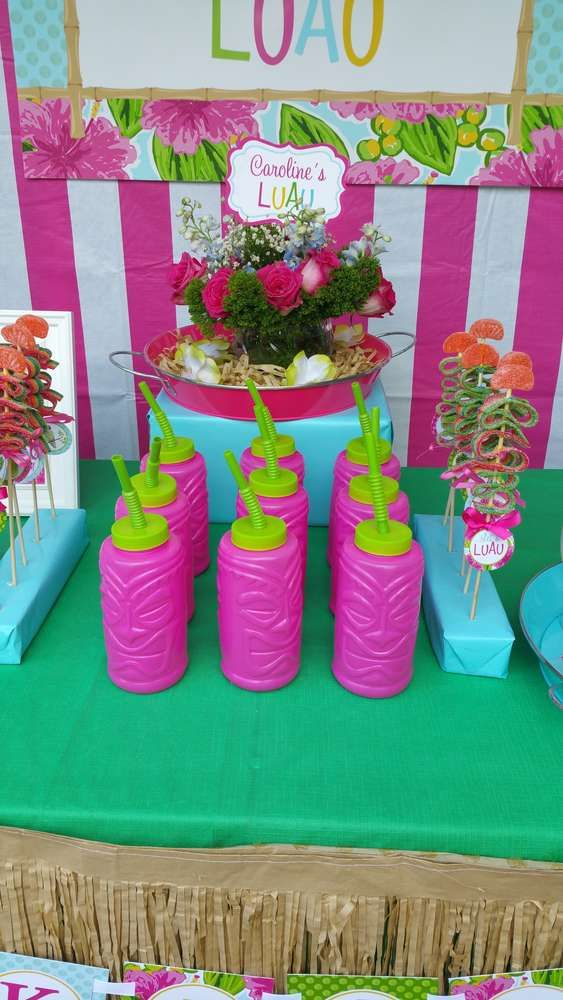Pink tiki drinks at a Hawaiian luau birthday party! See more party planning ideas at CatchMyParty.com!