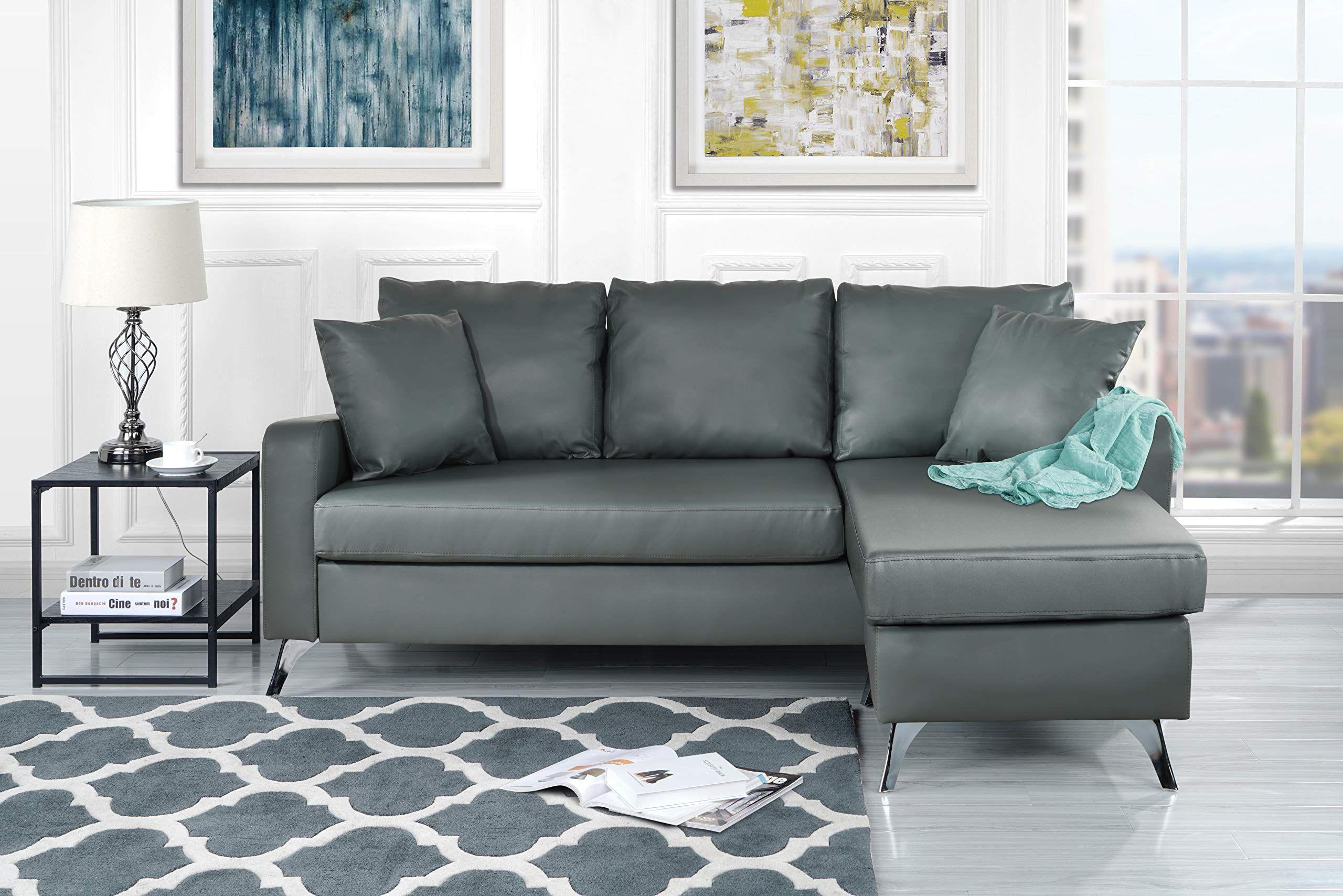 Divano Roma Furniture Bonded Sectional, Light Grey