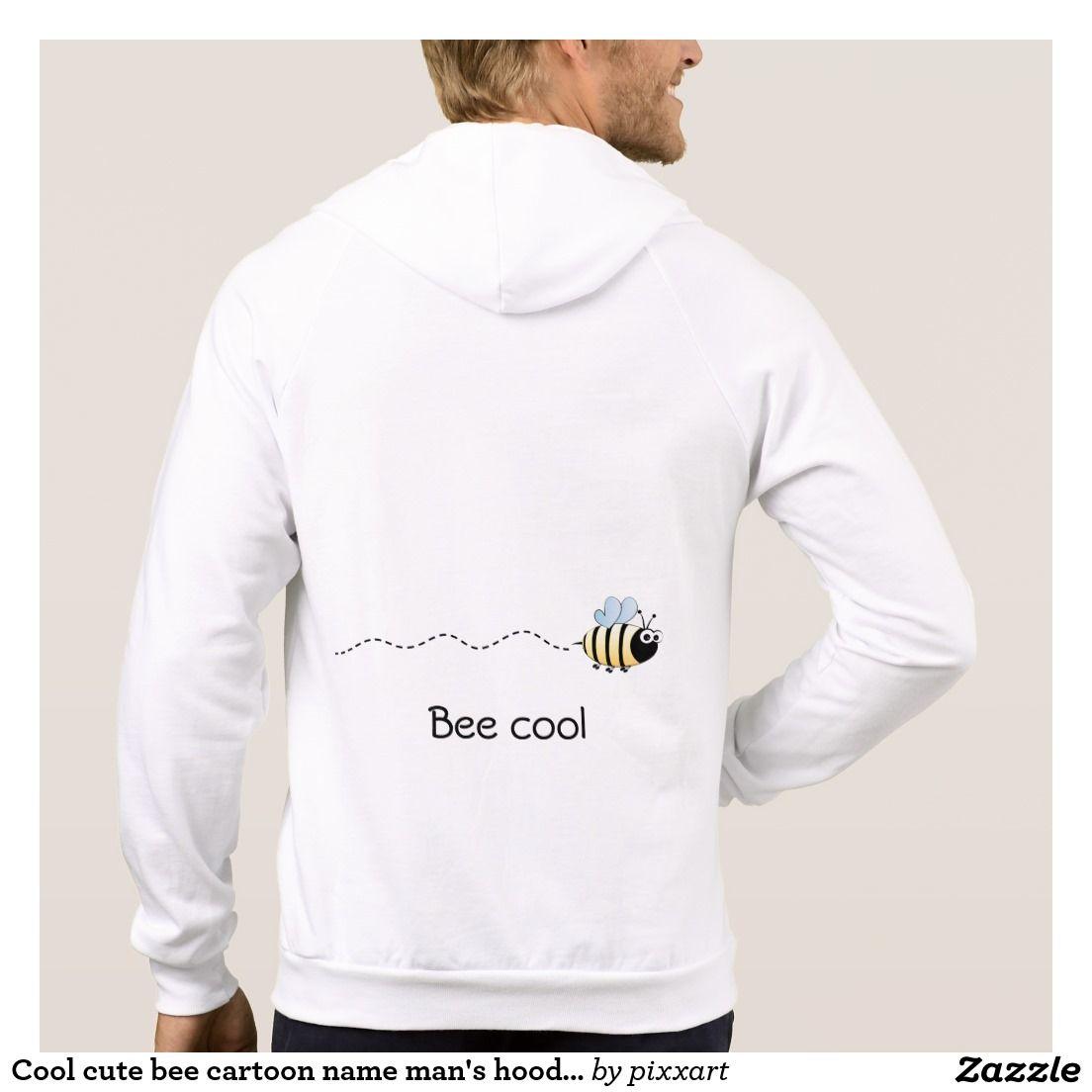 Cool cute bee cartoon name man's hoodie