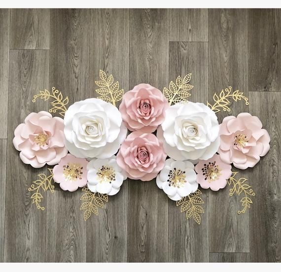 10pc baby girls nursery decor and baby shower gift, girls party decor, Nursery wall flowers , baby shower ideas #paperflowers