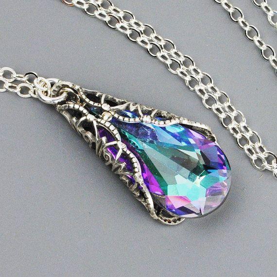 Purple Pink Crystal Necklace - Bridesmaid Necklace - Lavender Aqua Vitrail Light…