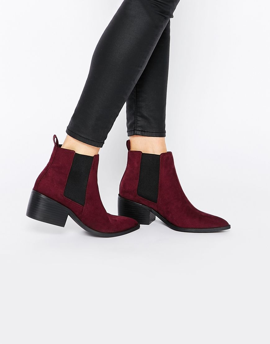 Asos burgundy chelsea boots