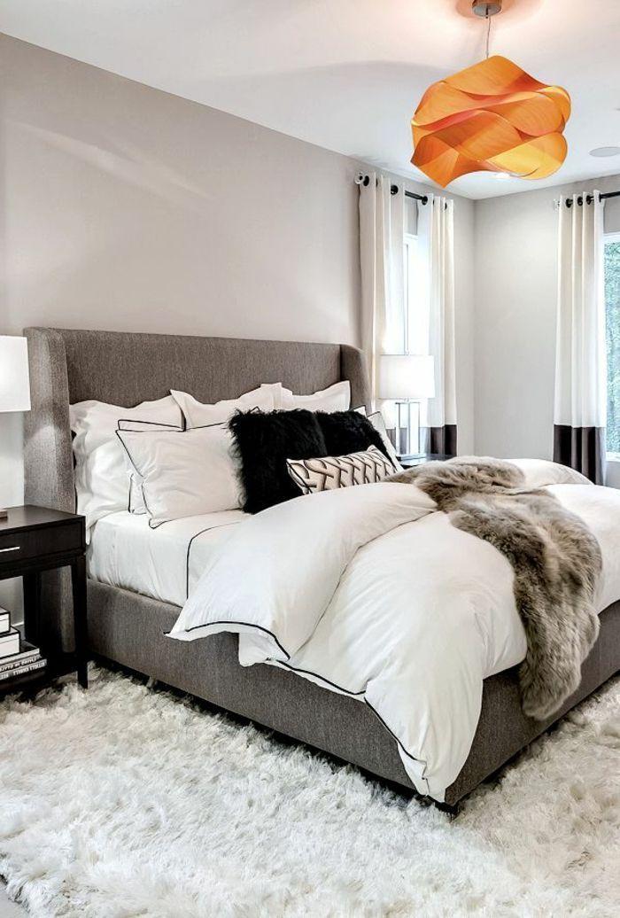 deco chambre moderne lit gris plafonnier origami orange tapis blanc moelleux peinture murale gris clair - Photo De Chambre Moderne