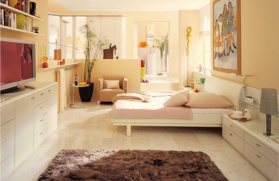 cream bedroom and ceramic tile floor design - Apt Bedroom Ideas
