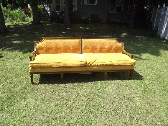 1960s Mediterranean Style Gold Plush Sofa 60s Couch