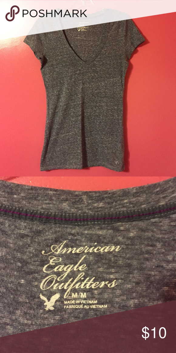 Grey American Eagle v-neck size M Grey American Eagle v-neck in perfect condition only worn a couple of times! American Eagle Outfitters Tops Tees - Short Sleeve