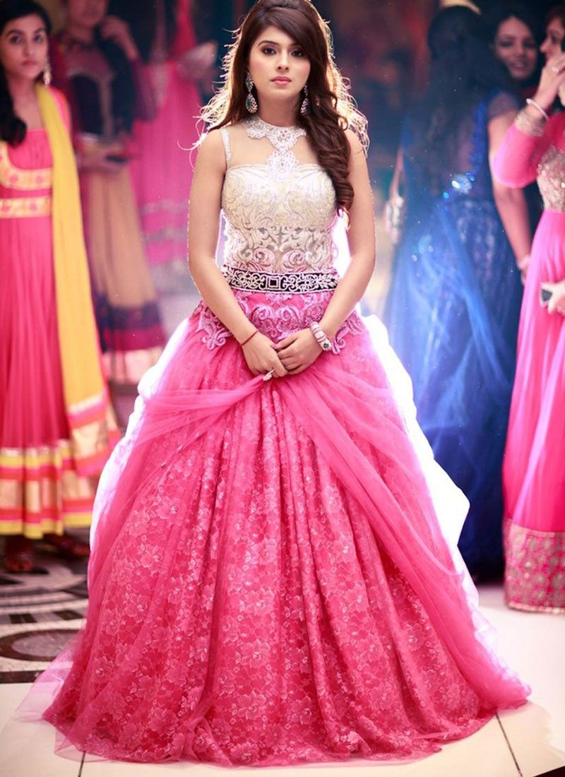 Pink Net Based Embroidered Designer Party Wear Gown Gown Women