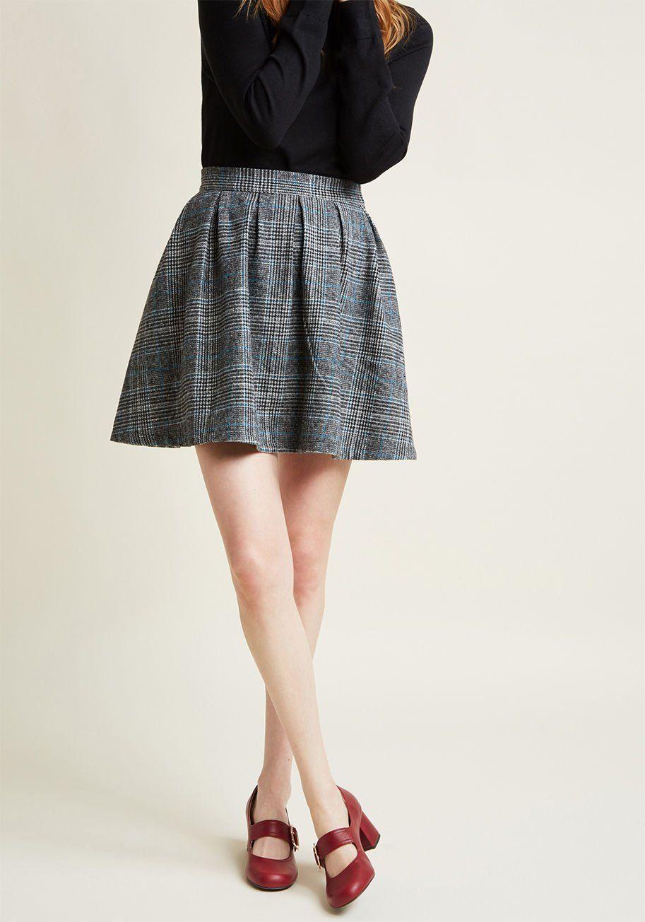 Modcloth mini skirts Modcloth Brisk Taker Wool Mini Skirt In Grey Plaid Grey Plaid Modcloth Mini Skirts Stylish Skirts Wool Mini Skirt