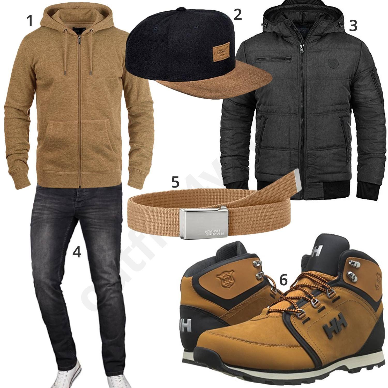 Beige Schwarzer Herren Style mit Zip Hoodie und Cap | Herren