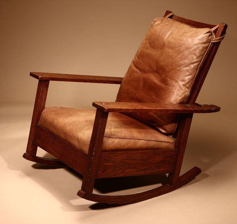 Amazing Lot 1132 An L Jg Stickley Arts Crafts Oak Morris Rocker Creativecarmelina Interior Chair Design Creativecarmelinacom