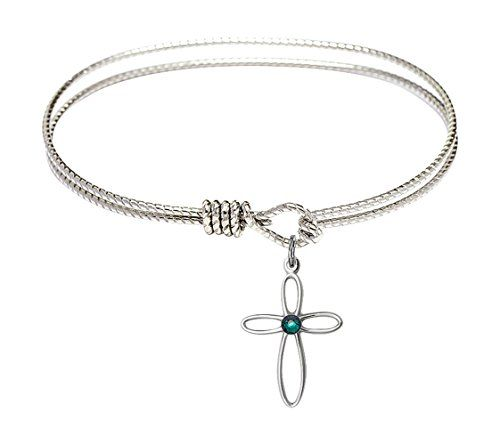 6 14 inch Oval Eye Hook Bangle Bracelet w Loop Cross medal charm w May Green Swarovski Crystal -- Check this awesome product by going to the link at the image.