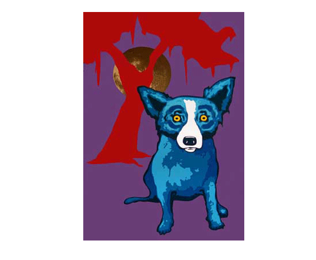 George Rodrigue Y Moon Painting For Sale Paypal Payment Painting Moon Painting Blue Art Blue Dog Painting