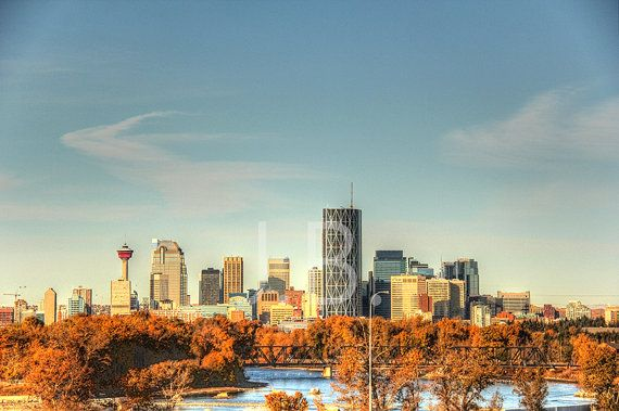 Calgary Skyline Canvas Wall Art by CanvasingtheOutdoors on Etsy
