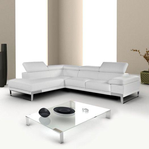 J M Furniture Nicoletti Domus Leather Chaise Allmodern Italian Leather Sectional Sofa Sectional Sofa White Sectional Sofa