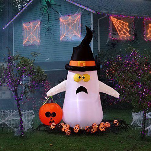 Outdoor Inflatable Halloween Ghost Pumpkin Witch Light Yard Lawn Fun - outdoor inflatable halloween decorations