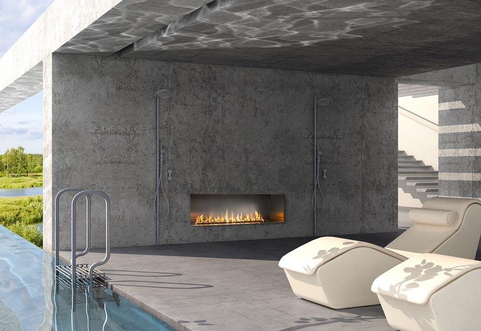 Furniture Modern Outdoor Gas Fireplace Designs In Large Concrete