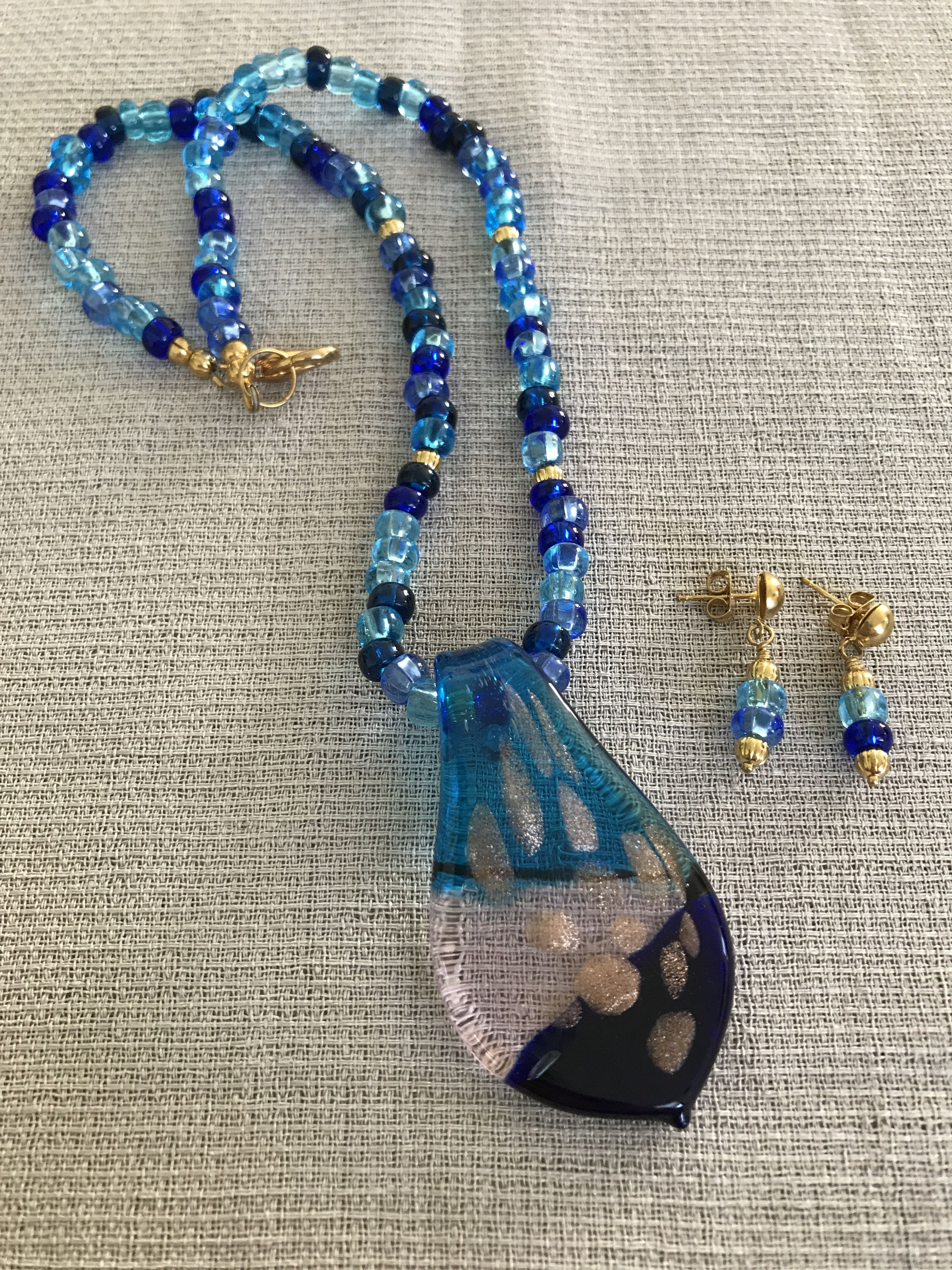 Blue glass necklace with lampwork pendant u earring set earring