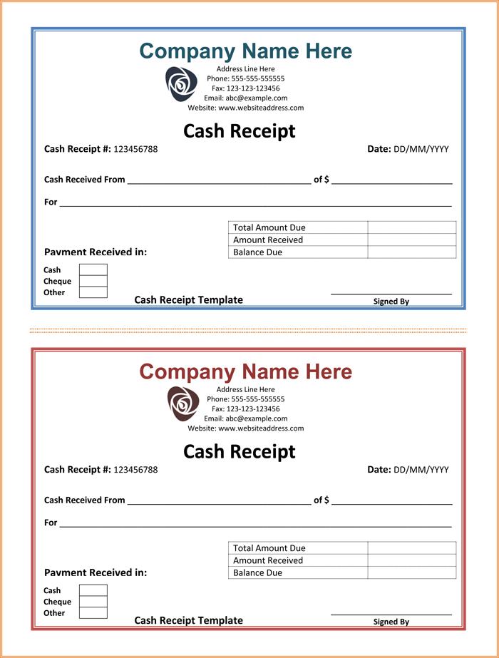 Fillable Cash Receipt Template Receipt Template Free Receipt Template Invoice Template Word