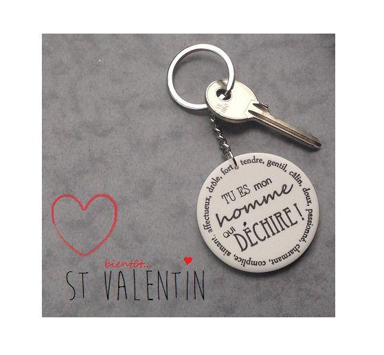 "saint valentin Mari Porte clefs "" tu es mon homme qui déchire""   Porte clef, Saint valentin ..."