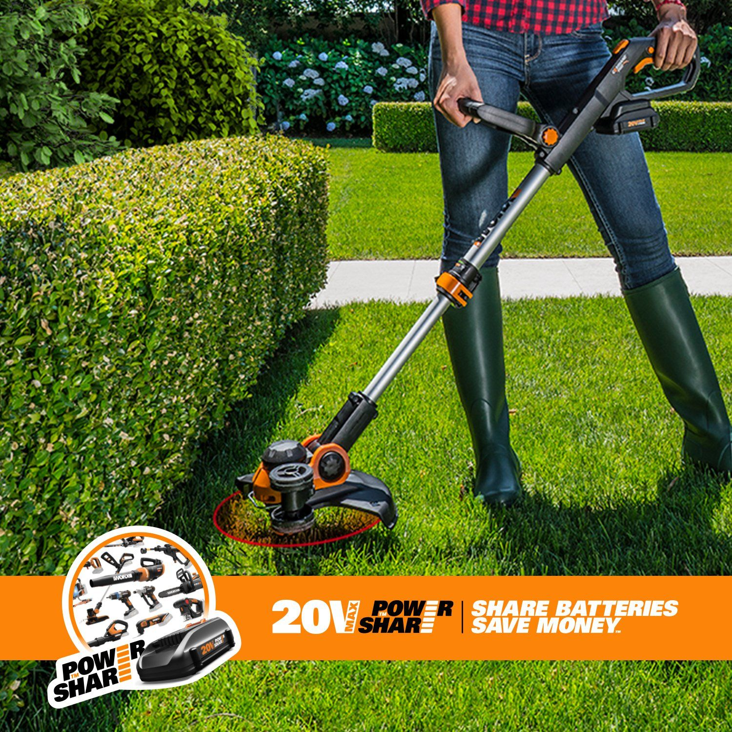Worx Wg163 Gt 3 0 20v Cordless Grass Trimmer Edger With Command Feed 12 2 Batteries And Charger Included Click On Trimmers Landscaping Tools Ergonomic Tools