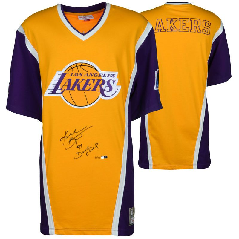 Kobe Bryant Los Angeles Lakers Autographed Purple   Gold Shooting Shirt  with 97 Dunk Champ Inscription 024538e41