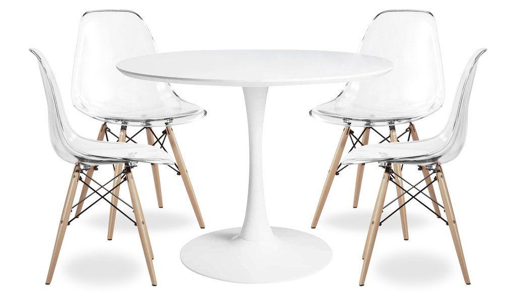 "35.5"" Tulip Dining Table Set - Eiffel Wood leg Chairs"