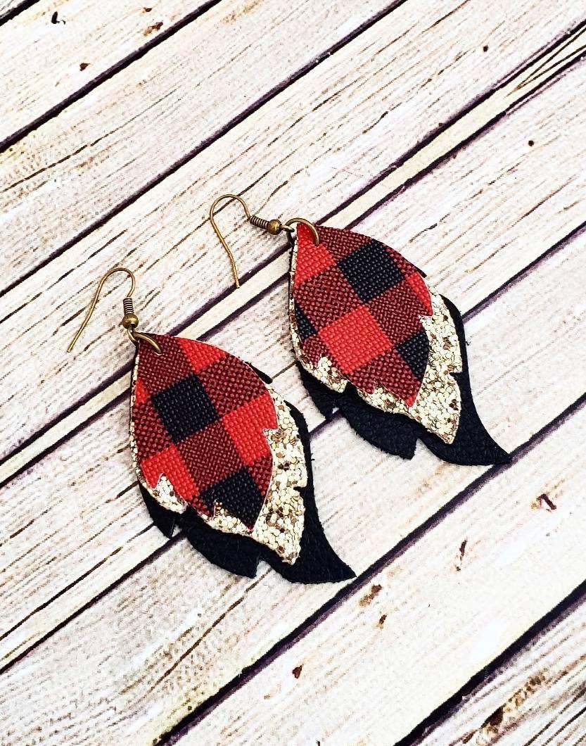 Glitter Winter Earrings Buffalo Check Glitter Earrings Large Earrings Gold Glitter Earrings Buffalo Plaid Layered Leather Earrings