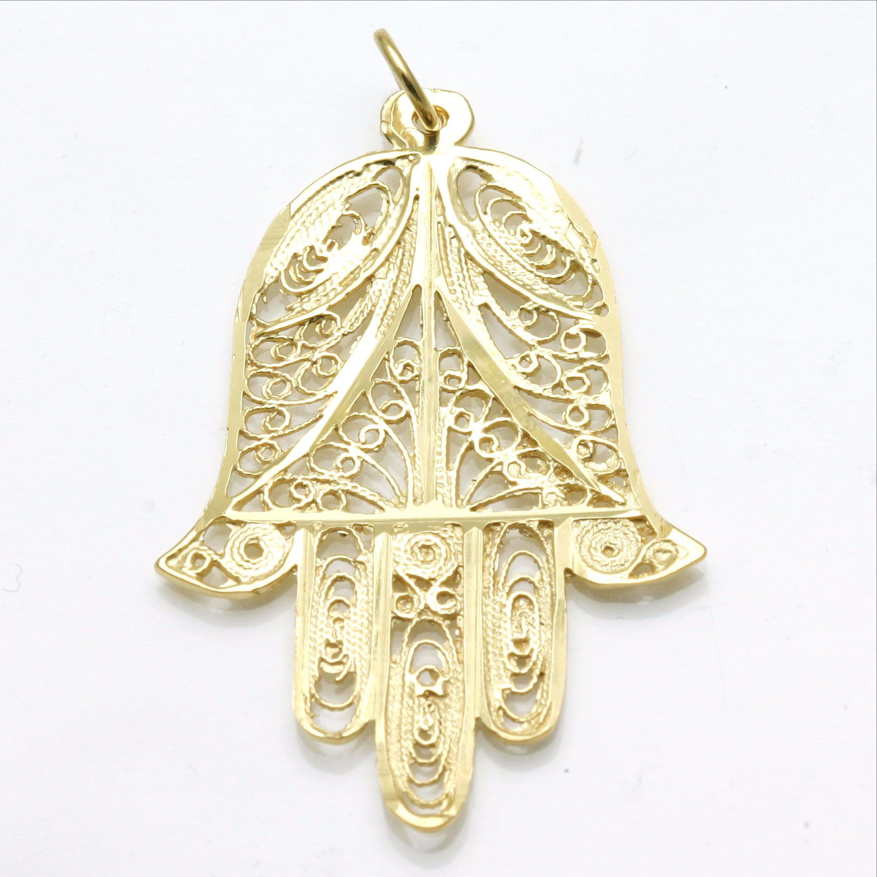 14k yellow gold hamsa large filigree hand pendant israel mozeypictures Image collections