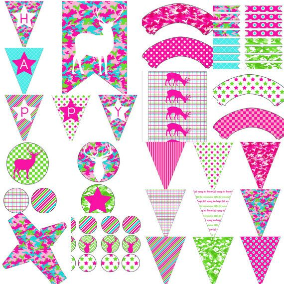 Girls Camo Birthday Party Decorations Digital Printable Package Girls Camo Birthday Party Decorations by PocketOfPosiesPrints