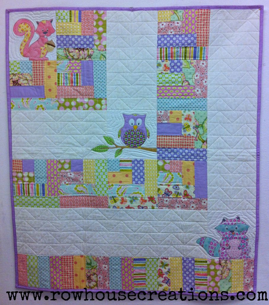 Lavender One Big Cabin Girl Quilt Racoon, Owl Squirrel Baby Quilt ... : how big are baby quilts - Adamdwight.com