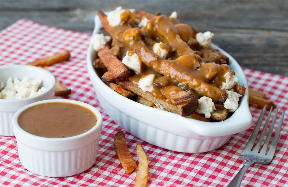 Vegan Poutine - yummmm!!! (just use spray oil for french fries and eliminate all but 2 Tbl vegan butter from the gravy to keep the fat down)