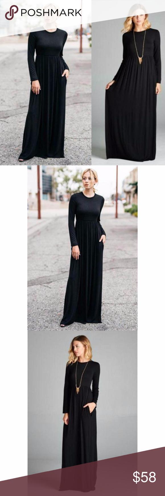 Long sleeve flowy high waist maxi dress