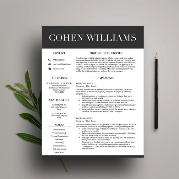 Professional Resume Template for Word (1  2 Page Resume, Cover