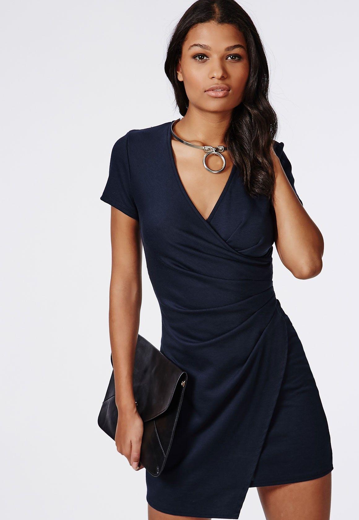 Missguided - Jennie Short Sleeve Wrap Bodycon Dress Navy  f21482e85