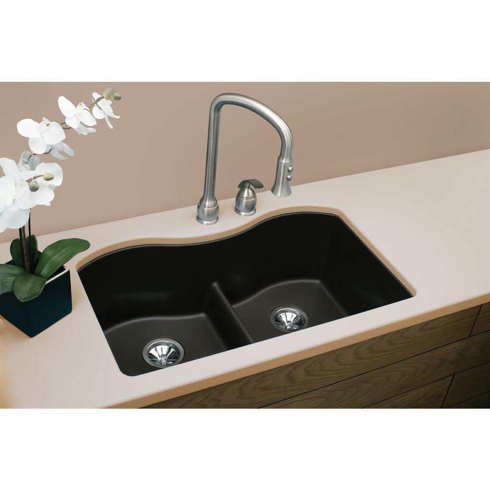 Quartz Classic Undermount Composite 33 in. Double Bowl Kitchen Sink ...